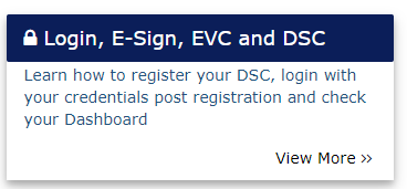 Login, E-Sign, EVC and DSC