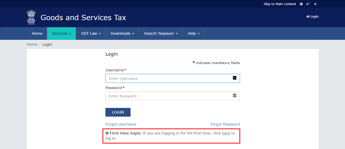 first time login to GST account