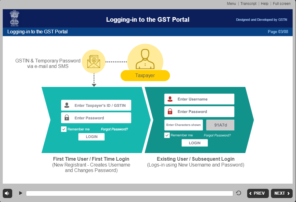 logginging to GST portal video